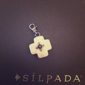 Silpada White Cross Charm - Sterling Silver .925